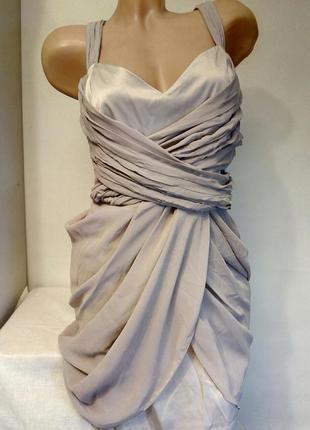 Нарядное коктейльное вечернее платье из атласа шифона