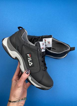 Подростковые кроссовки кожаные чёрные