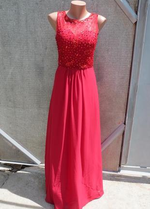 Вечернее выпускное красное платье в пол с пайетками и камнями