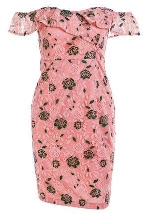 Платье кружевное в розово-изумрудном цвете! размер s!