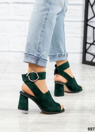❤ женские зеленые замшевые босоножки туфли ❤