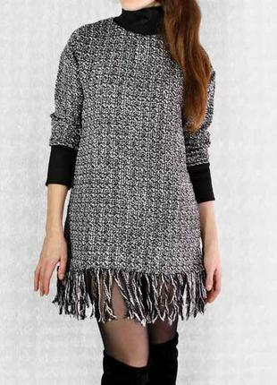 Платье/туника твидовое с бахромой! размер s-m