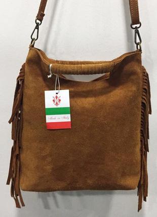 Рыжая замшевая сумка