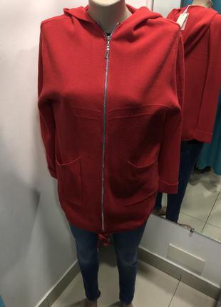 Красный кардиган с капюшоном на молнии