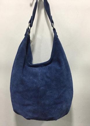 Голубая замшевая сумка