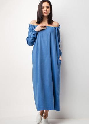 Модное  коттоновое платье с открытыми плечами на завязках разн...