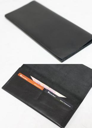 Тонкий кошелек из натуральной кожи итальянский краст черный