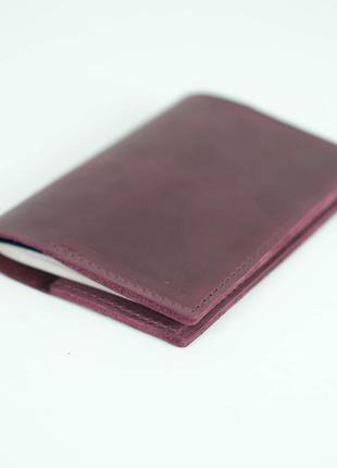 Кожаная обложка для паспорта из натуральной винтажной кожи бор...
