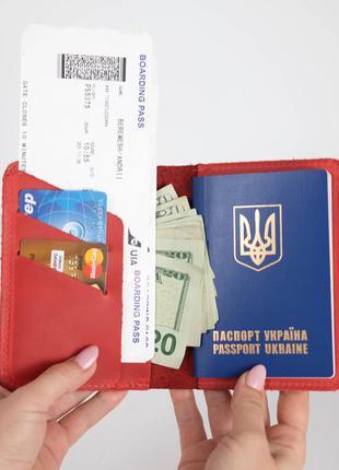 Кожаная обложка для паспорта и билетов из натуральной винтажно...
