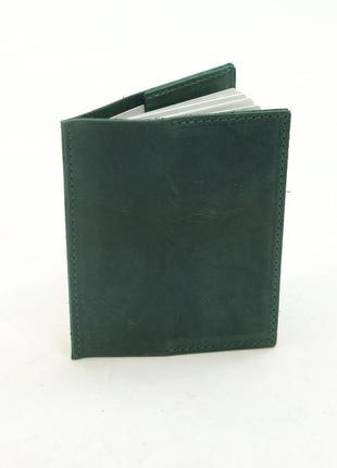 Кожаная обложка для паспорта из натуральной винтажной кожи зел...