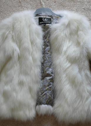 Натуральная шуба  белая лиса