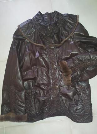 Куртка кожанка удиненная пальто кожа с мехом норки