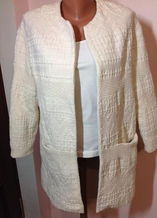 Жакет удлиненный / кардиган /пальто /пиджак без застежки молоч...
