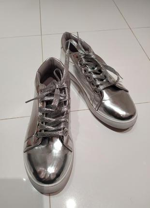 Туфли кроссовки кеды зеркальные
