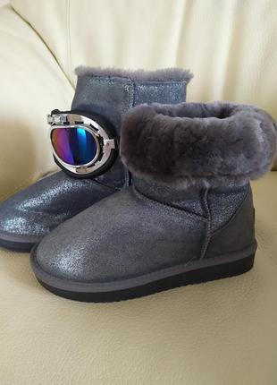 Зимние натуральные кожаные сапоги на меху 3в 1