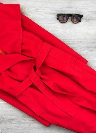 Актуальное шерстяное красное пальто на запах м-л s.oliver