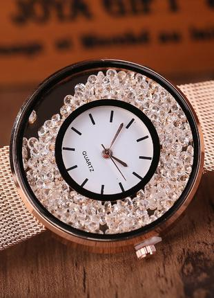 Женские наручные часы браслет Розовое золото