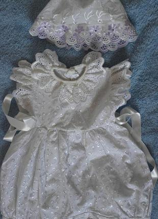 Платье песочник боди, панама, нарядное крестины