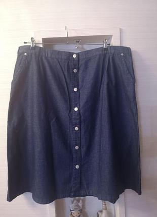 Джинсовая юбка миди на пуговицах большого размера