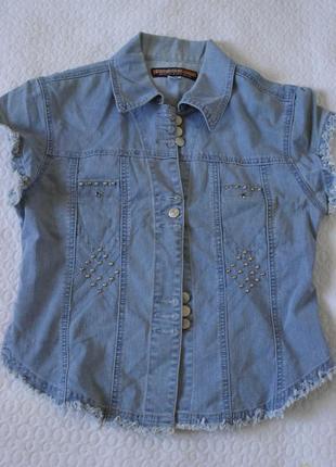 Джинсовая рубашка, безрукавка