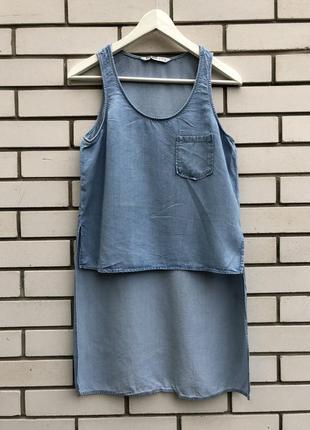 Тонкая,джинсовая блузка,майка,туника,рубаха удлиненная по спин...
