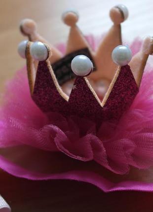 Повязка корона темно-розовая