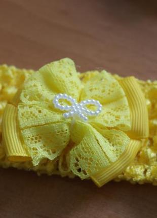 Повязка на голову бантик желтый