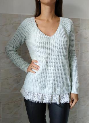 Женский свитер, свитер с кружевом, модный женский свитер