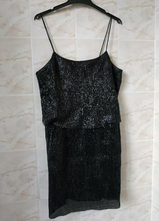 Платье в паетках, платье манго, блестящее платье , черное платье