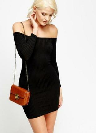 Платье в рубчик, платье с открытыми плечами, модное платье