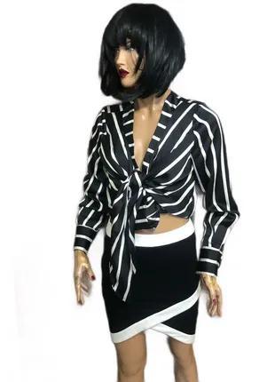 Укороченная блуза в полоску