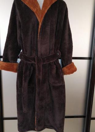 Мужской махровый халат. коричневый махровый халат длинный с по...