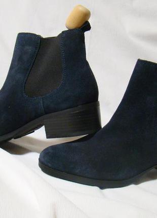 Ботинки женские челси демисезонные замшевые синие footglove
