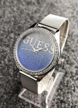 Женские наручные часы Guess ( серебро с синим)