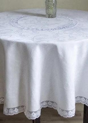 Скатерть на круглый стол цвет айвори, шампань. светлая скатерт...