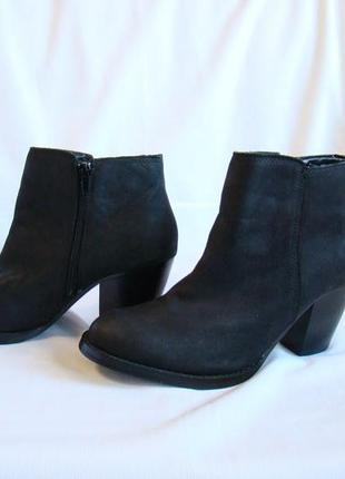Ботинки женские, демисезонные, кожаные, черные new look