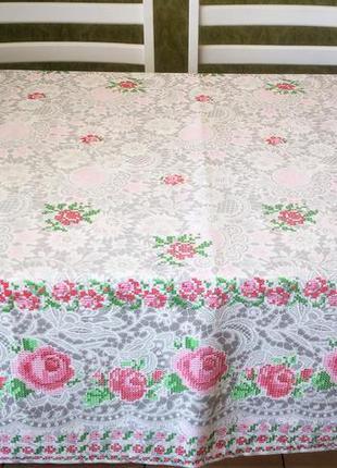 Скатерть розы рогожка  натуральная ткань имитация вышивки