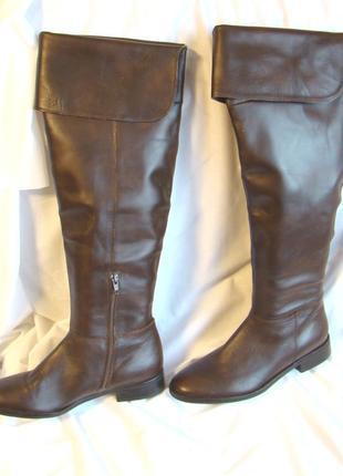 Сапоги женские ботфорты кожаные демисезонные высокие коричневы...