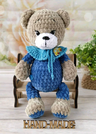 Плюшевый медвежонок, вязаная игрушка, ручная работа