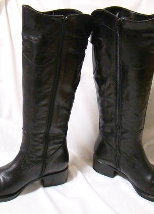 Сапоги женские демисезонные кожаные черные, италия