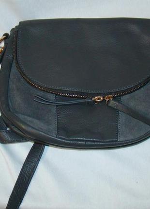 Сумка женская кожаная на плечо серая accessorize