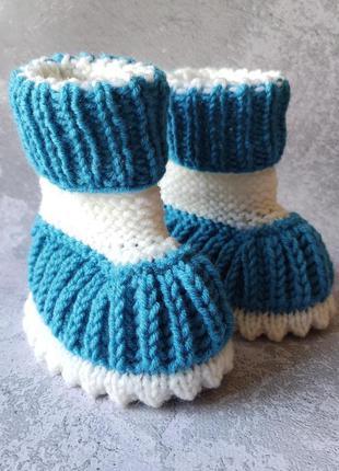 Пинетки-сапожки синие с белым