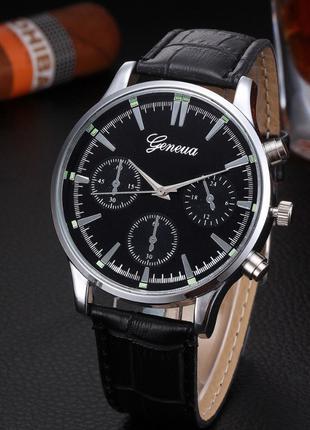 Черные мужские наручные часы Geneva