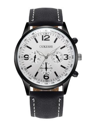 Мужские часы на руку Oukeshi Черный с белым циферблатом