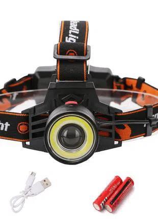 МОЩНЫЙ! Налобный фонарь 8027-T6, USB зарядка велосипедный фонарик