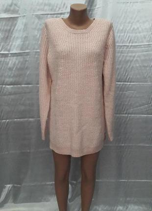 Розовое платье-свитер оверсайз