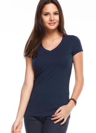 Женская футболка синяя de facto / де факто с v-образным вырезом