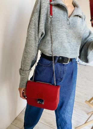 Красный клатч на цепочке с замком фурла с нахлёстом сумка сумочка