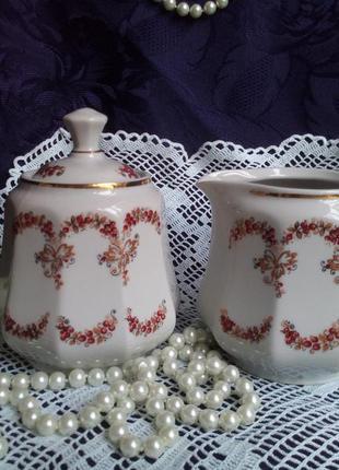 Чайный сервиз ссср сумской фз сливочник и сахарница фарфоровый...