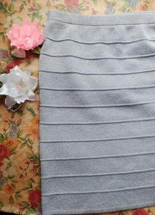 Бандажная юбка серебро